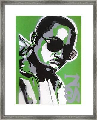 Nas In Green Framed Print by Leon Keay