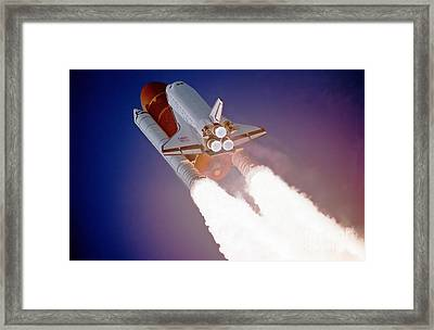 Nasa Atlantis Launch 3 Framed Print