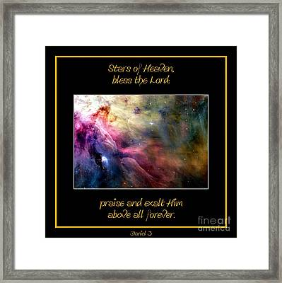 Nasa Ll Ori And The Orion Nebula Stars Of Heaven Bless The Lord Framed Print