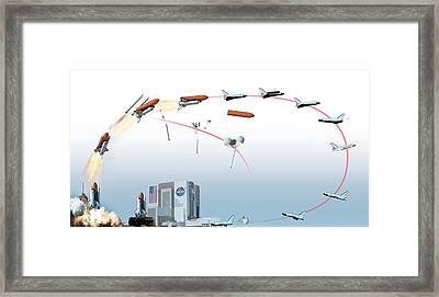 Nasa Space Shuttle Mission Flight Path Framed Print by Dorling Kindersley/uig