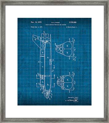 Nasa Space Shuttle Vintage Patent Diagram Blueprint Framed Print