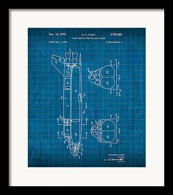 Space Shuttle Mixed Media Framed Prints