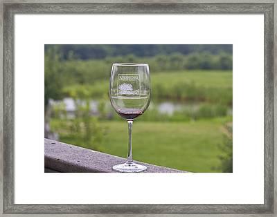 Nashoba Winery Wine Glass Framed Print by John Hoey