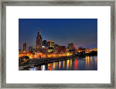 Nashville Lit Up Framed Print by Zachary Cox