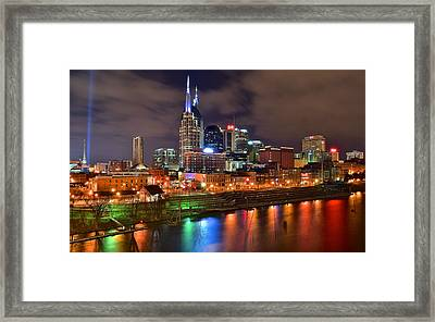 Nashville Night Framed Print by Frozen in Time Fine Art Photography