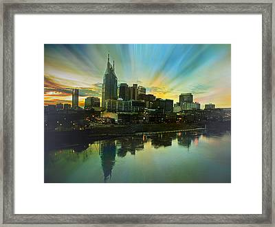 Nashville Over The Cumberland Framed Print by Steven Michael