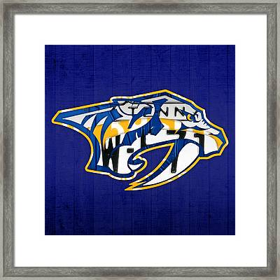 Nashville Predators Hockey Team Retro Logo Vintage Recycled Tennessee License Plate Art Framed Print