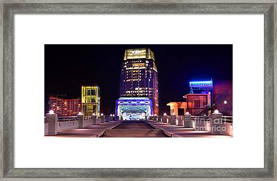 Nashville Sight Night Skyline Pinnacle Panorama Color Framed Print by Jon Holiday