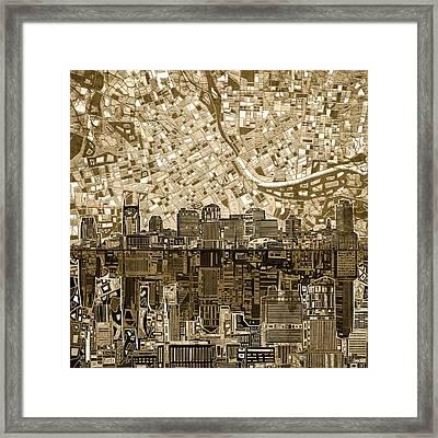 Nashville Skyline Abstract 6 Framed Print