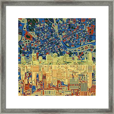 Nashville Skyline Abstract 9 Framed Print