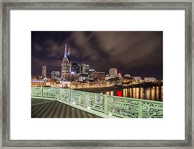 Nashville Skyline And Bridge Framed Print by John McGraw