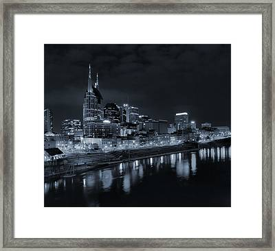 Nashville Skyline At Night Framed Print by Dan Sproul