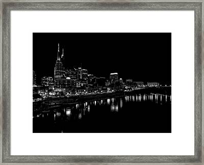 Nashville Skyline At Night In Black And White Framed Print by Dan Sproul
