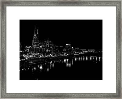 Nashville Skyline At Night In Black And White Framed Print