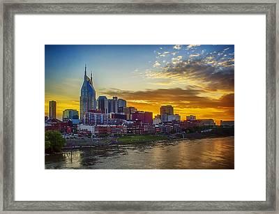 Nashville Skyline At Sunset Framed Print by Dan Holland