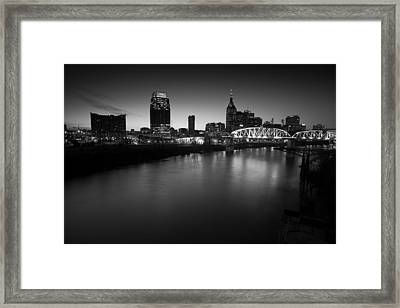 Nashville Skyline Black And White Framed Print