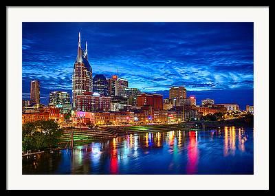 Nashville Skyline Framed Prints