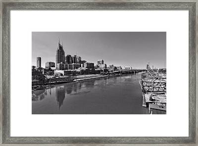 Nashville Skyline In Black And White At Day Framed Print by Dan Sproul