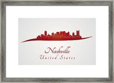 Nashville Skyline In Red Framed Print