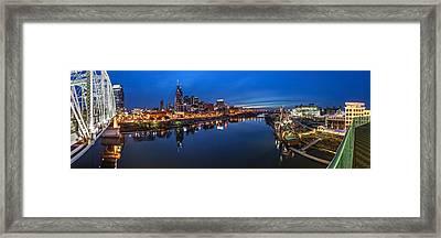 Nashville Skyline Panorama At Night Framed Print by Brett Engle