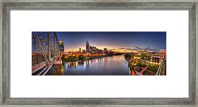 Nashville Skyline Panorama Framed Print by Brett Engle