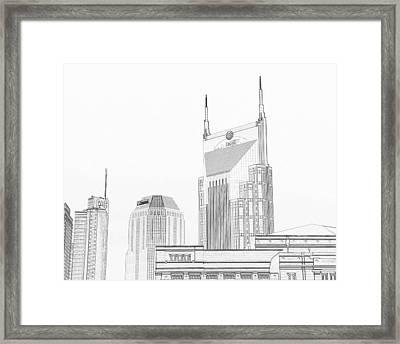 Nashville Skyline Sketch Batman Building Framed Print by Dan Sproul