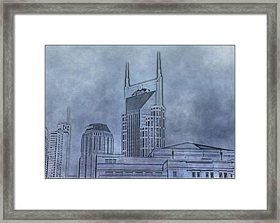 Nashville Skyline Sketch Framed Print by Dan Sproul