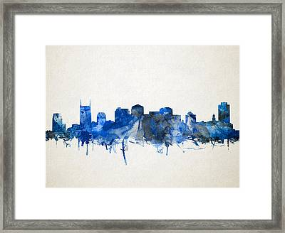 Nashville Skyline Watercolor 11 Framed Print