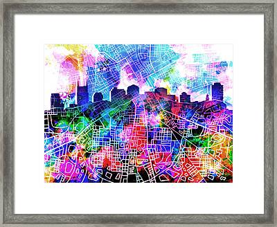 Nashville Skyline Watercolor 5 Framed Print
