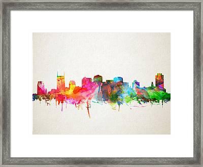 Nashville Skyline Watercolor 9 Framed Print