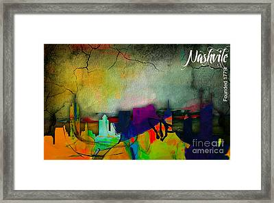 Nashville Skyline Watercolor Framed Print