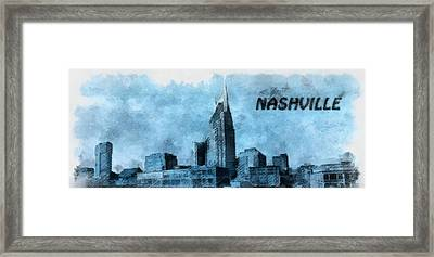 Nashville Tennessee In Blue Framed Print by Dan Sproul