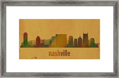 Nashville Tennessee Skyline Watercolor On Parchment Framed Print