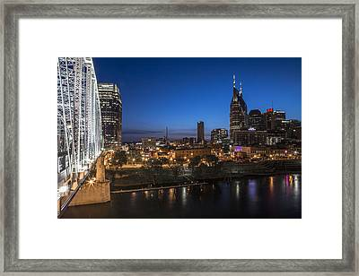 Nashville Tennessee With Pedestrian Bridge  Framed Print by John McGraw