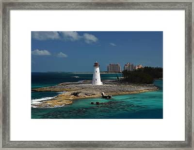 Framed Print featuring the photograph Nassau Harbour Lighthouse by Bill Swartwout