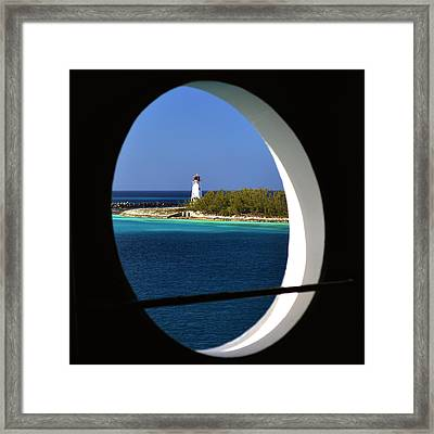 Nassau Lighthouse Porthole View Framed Print by Bill Swartwout Photography