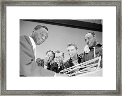 Nat King Cole Playing Piano For Some Fans 1954 Framed Print by The Harrington Collection