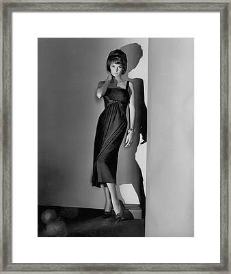 Natalie Fell Cushing Wearing A Dress Framed Print by Horst P. Horst