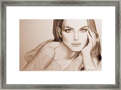 Natalie Portman Framed Print by Kim Lagerhem