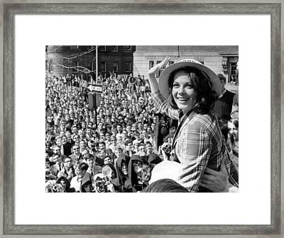 Natalie Wood Waving To Fans Framed Print