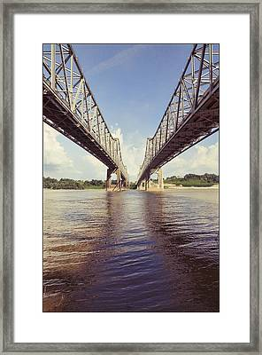 Framed Print featuring the photograph Natchez Bridges Crossing The Mississippi by Ray Devlin