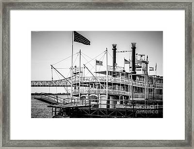Natchez Steamboat In New Orleans Black And White Picture Framed Print by Paul Velgos