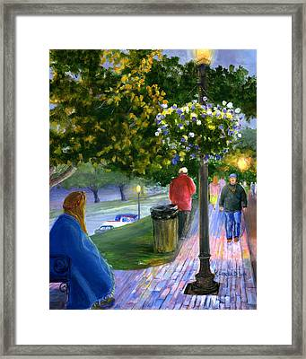 Framed Print featuring the painting Natchitoches Front Street Cane River by Lenora  De Lude