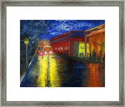 Natchitoches Louisiana Mardi Gras Parade At Night Framed Print
