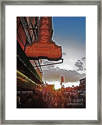 Framed Print featuring the photograph Nathan's Famous Coney Island Sunset Frankfurters by Andy Prendy