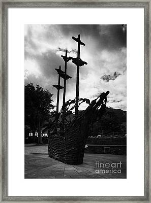 National Famine Memorial The Skeleton Ship By John Behan Beneath Croagh Patrick Mayo Ireland Framed Print by Joe Fox