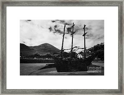 National Famine Memorial The Skeleton Ship By John Behan Beneath Croagh Patrick Mayo Framed Print by Joe Fox