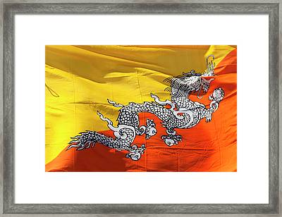 National Flag Of Bhutan Framed Print by Peter Adams