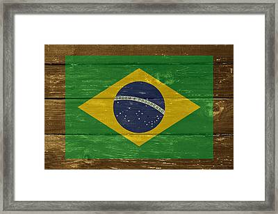 Brazil National Flag On Wood Framed Print by Movie Poster Prints