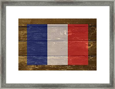 France National Flag On Wood Framed Print by Movie Poster Prints